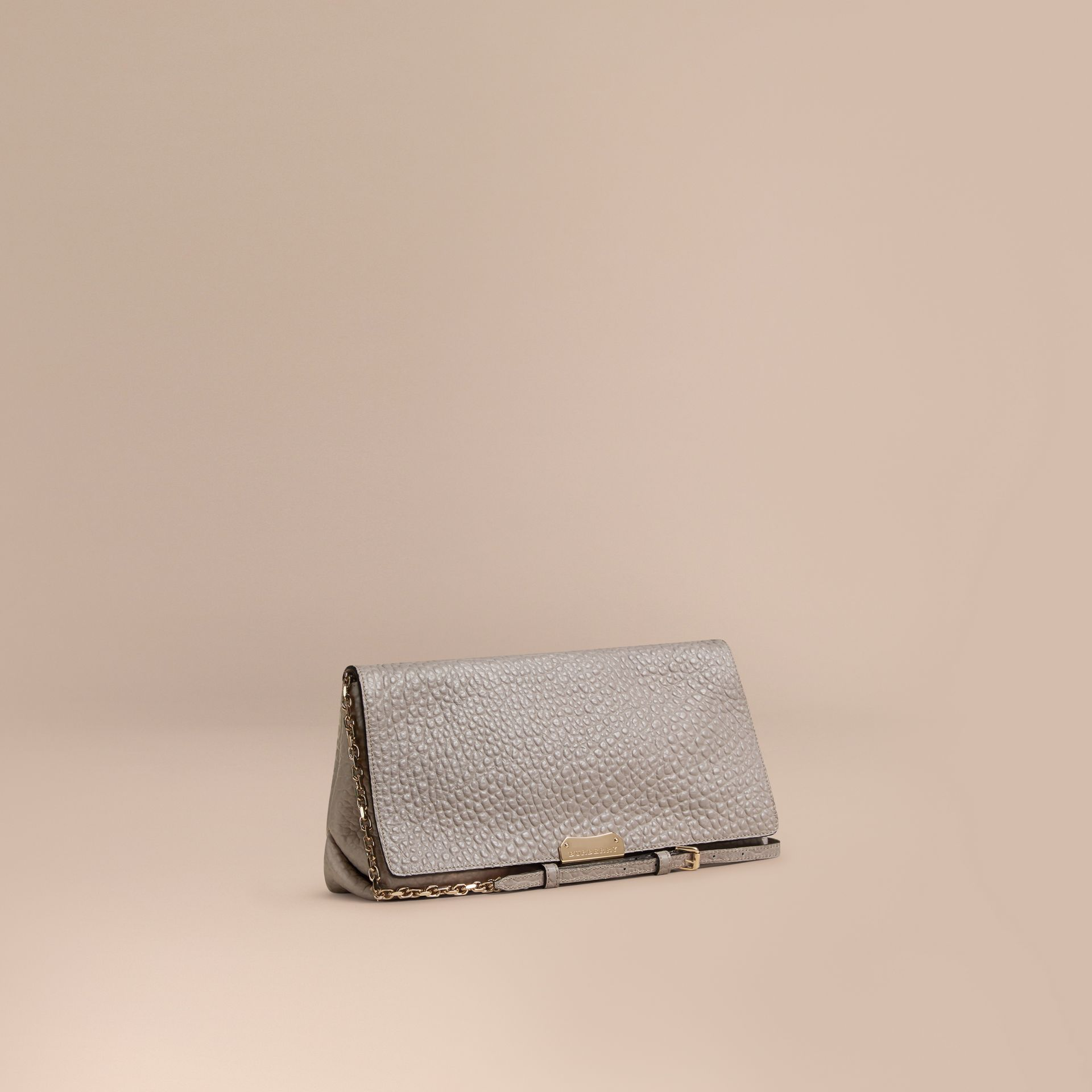 Pale grey Medium Signature Grain Leather Clutch Bag Pale Grey - gallery image 1