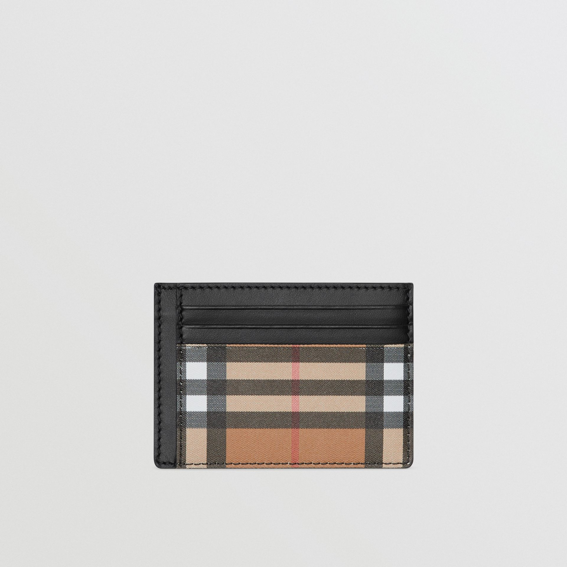 Vintage Check Leather Card Case in Black - Men | Burberry - gallery image 0