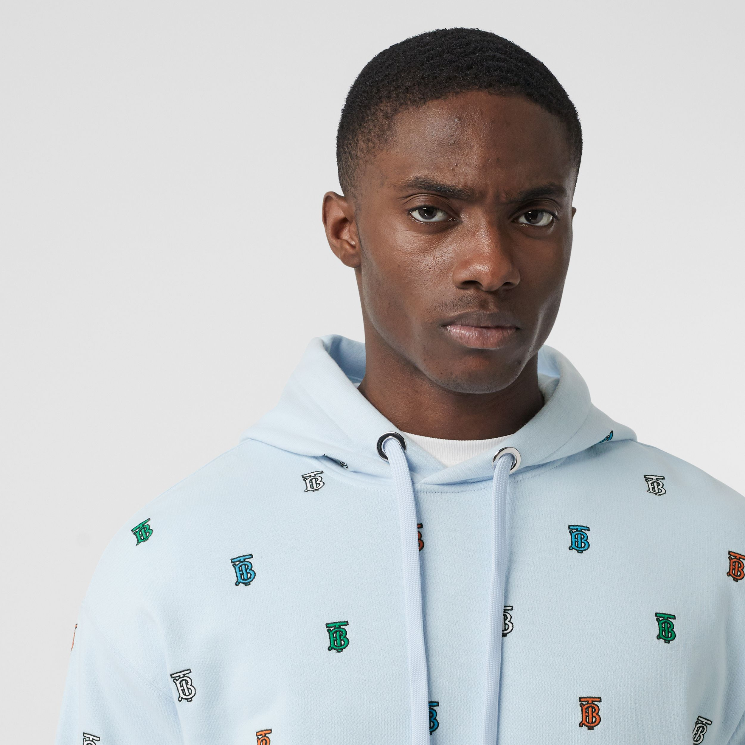 Monogram Motif Cotton Hoodie in Pale Blue - Men | Burberry - 2