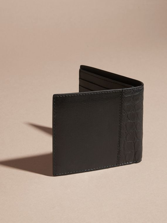 Leather and Alligator International Bifold Wallet in Black - Men | Burberry Australia - cell image 3