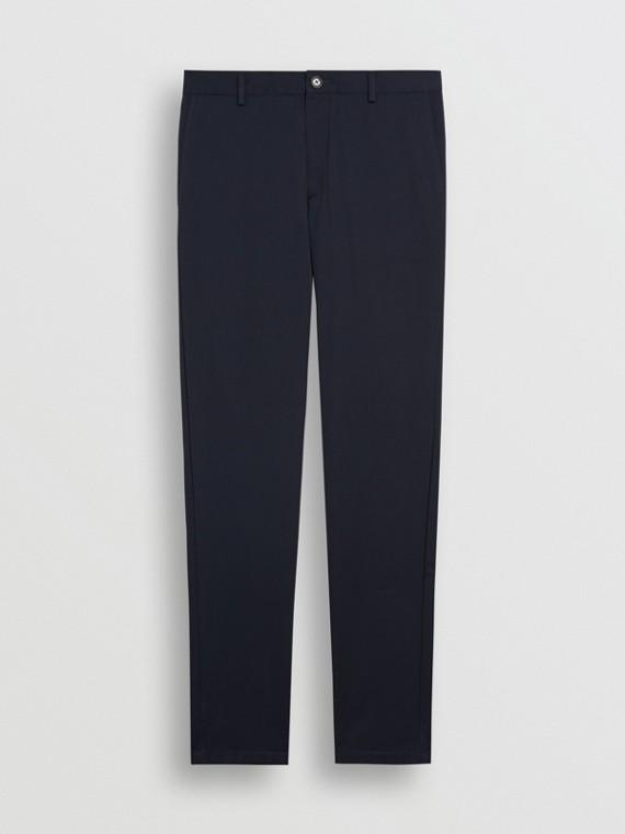 Calças chino de algodão com corte slim (Azul Marinho)