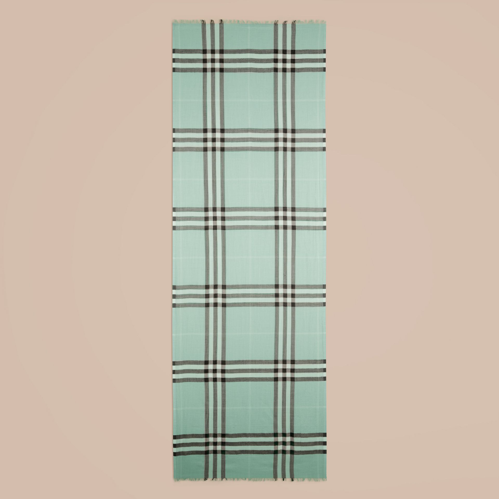 Dusty mint Lightweight Check Wool and Silk Scarf Dusty Mint - gallery image 4