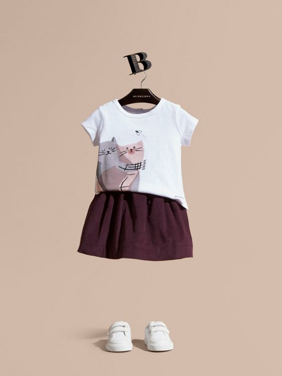Cat Motif Cotton T-Shirt
