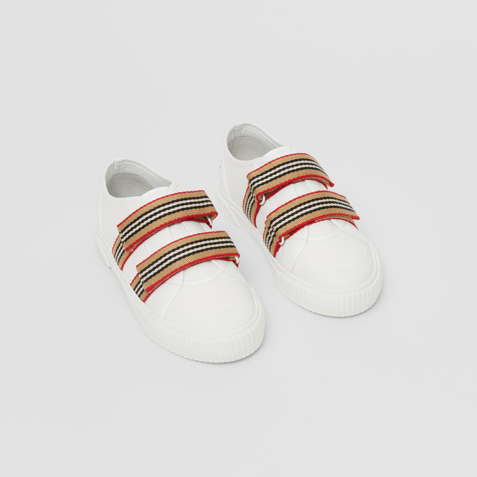 Icon Stripe Detail Leather Sneakers in White - Children | Burberry United Kingdom - gallery image 0