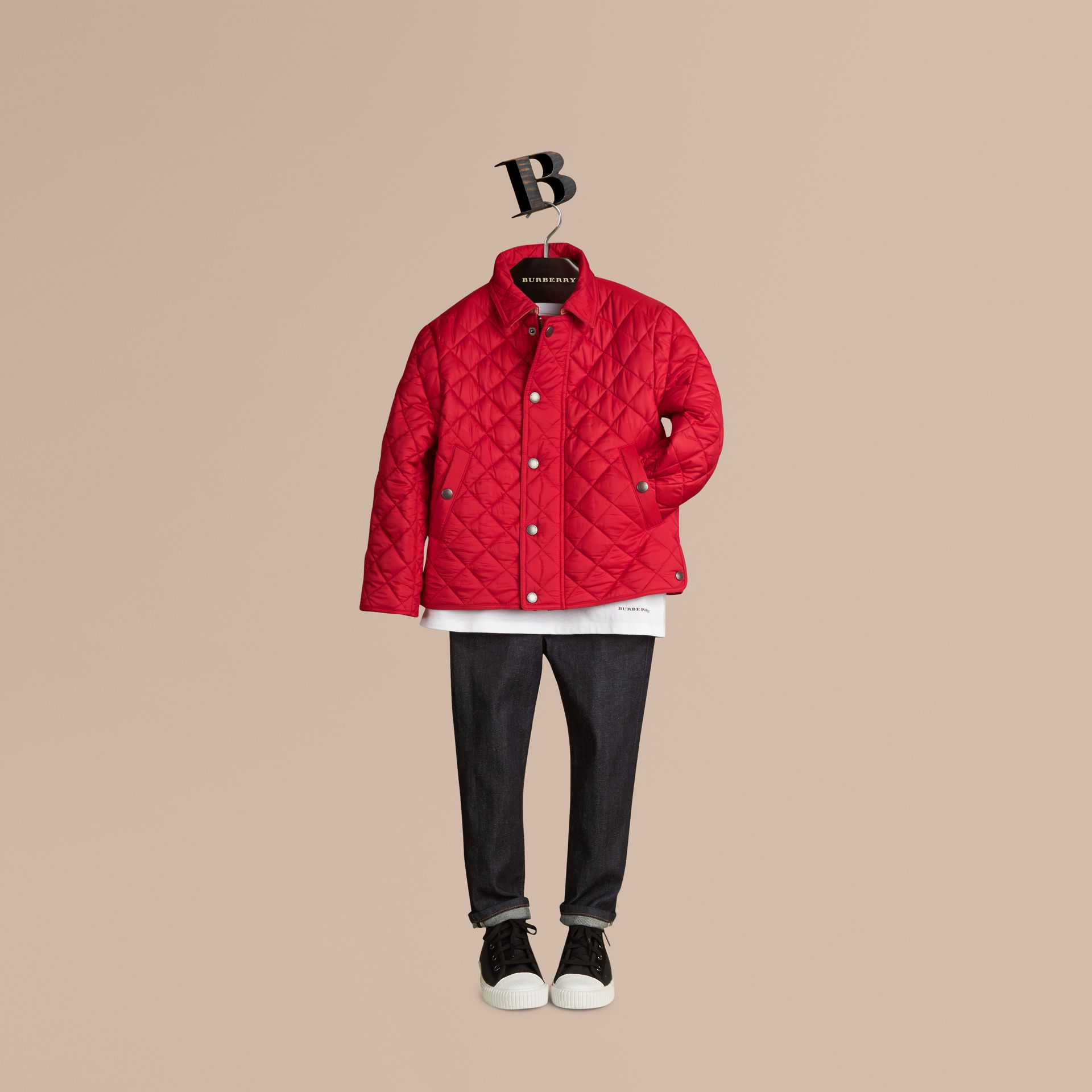 Diamond Quilted Jacket Bright Cherry Red - gallery image 3