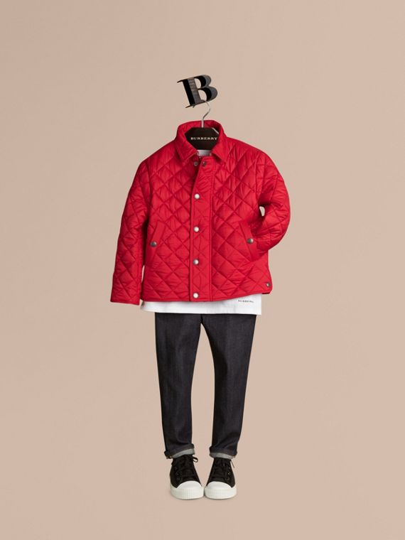 Diamond Quilted Jacket in Bright Cherry Red - Boy | Burberry - cell image 2