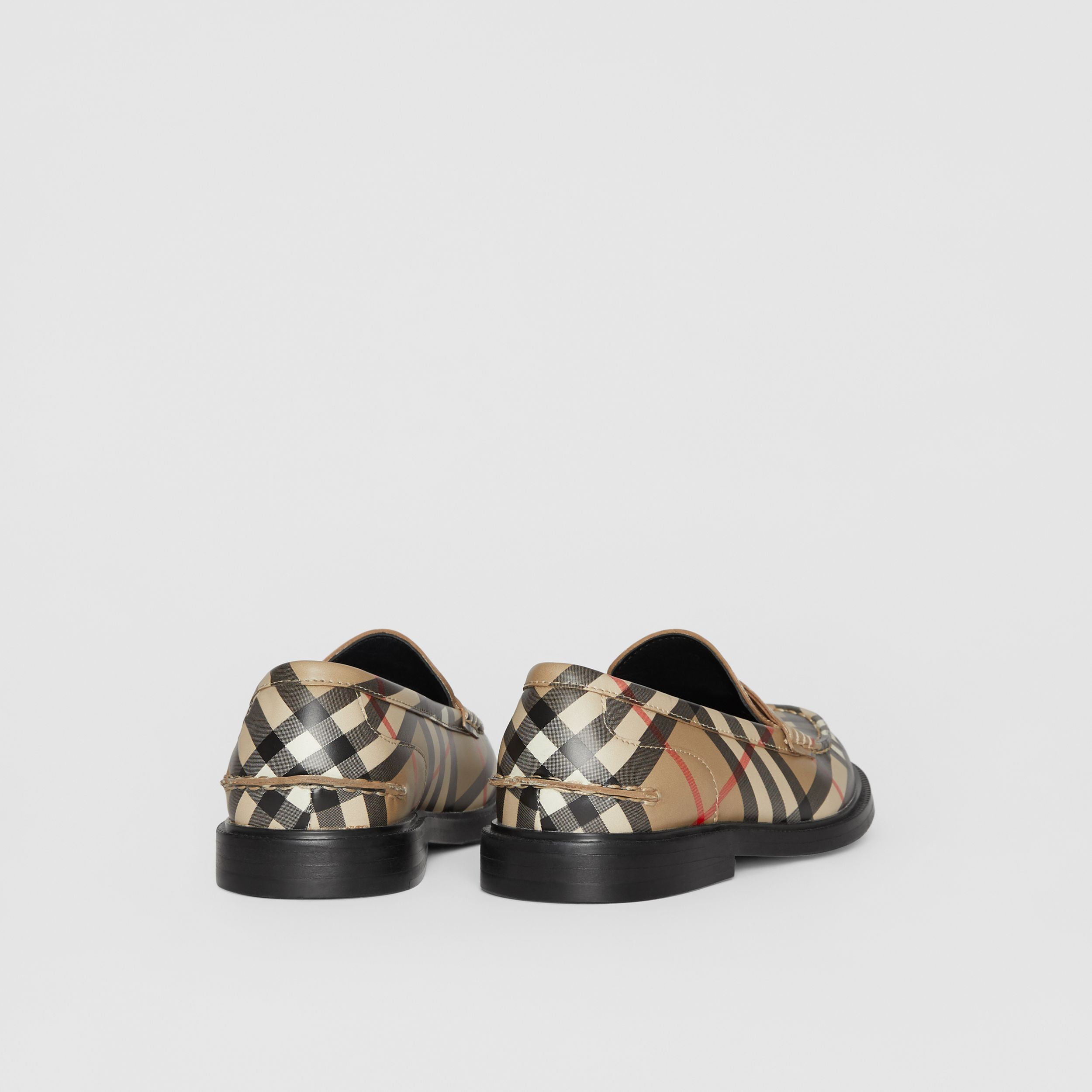 Vintage check Leather Loafers in Archive Beige - Children | Burberry - 3