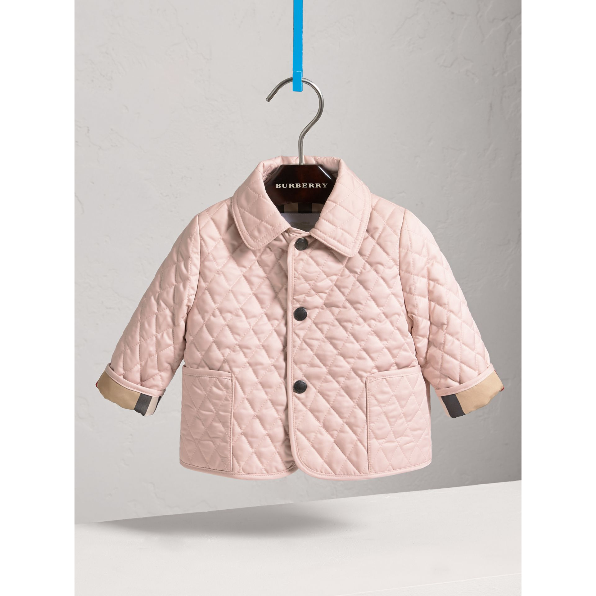 Check Detail Diamond Quilted Jacket in Powder Pink | Burberry Australia - gallery image 2