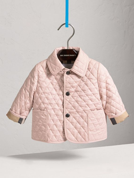 Check Detail Diamond Quilted Jacket in Powder Pink | Burberry Canada - cell image 2