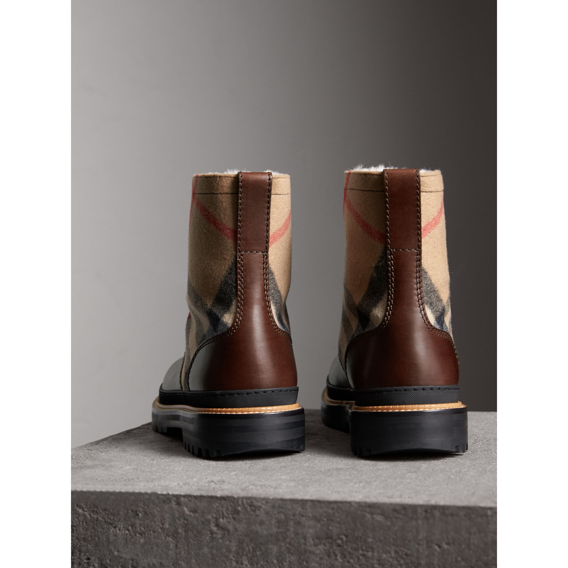 Shearling-lined Leather and Check Boots in Mid Camel - Men | Burberry Canada - gallery image 3