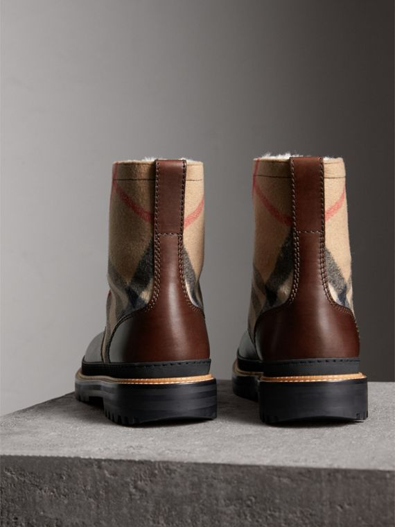 Shearling-lined Leather and Check Boots in Mid Camel - Men | Burberry Hong Kong - cell image 3