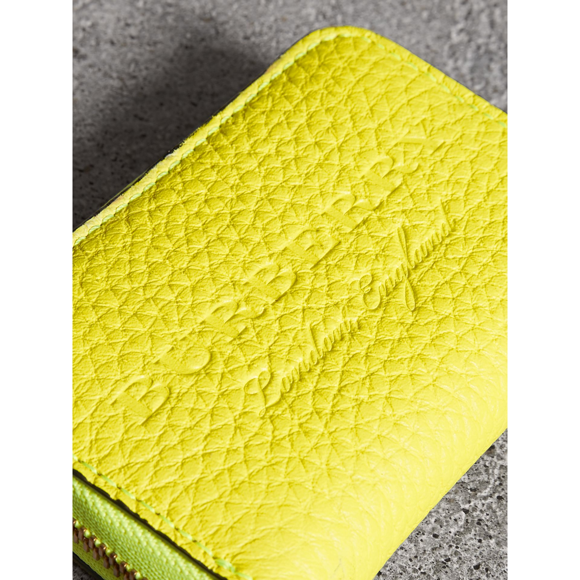 Embossed Leather Ziparound Coin Case in Neon Yellow - Men | Burberry Singapore - gallery image 1
