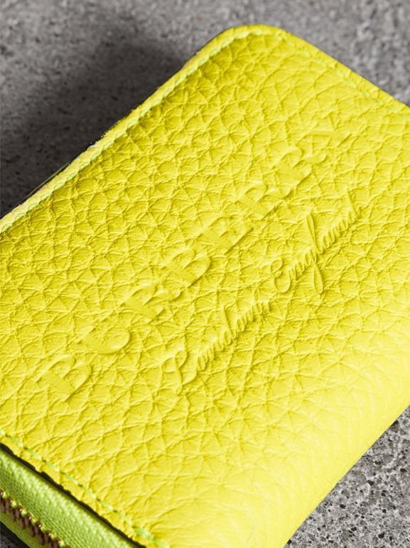 Embossed Leather Ziparound Coin Case in Neon Yellow - Men | Burberry United Kingdom - cell image 1