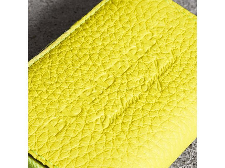 Embossed Leather Ziparound Coin Case in Neon Yellow - Men | Burberry Singapore - cell image 1