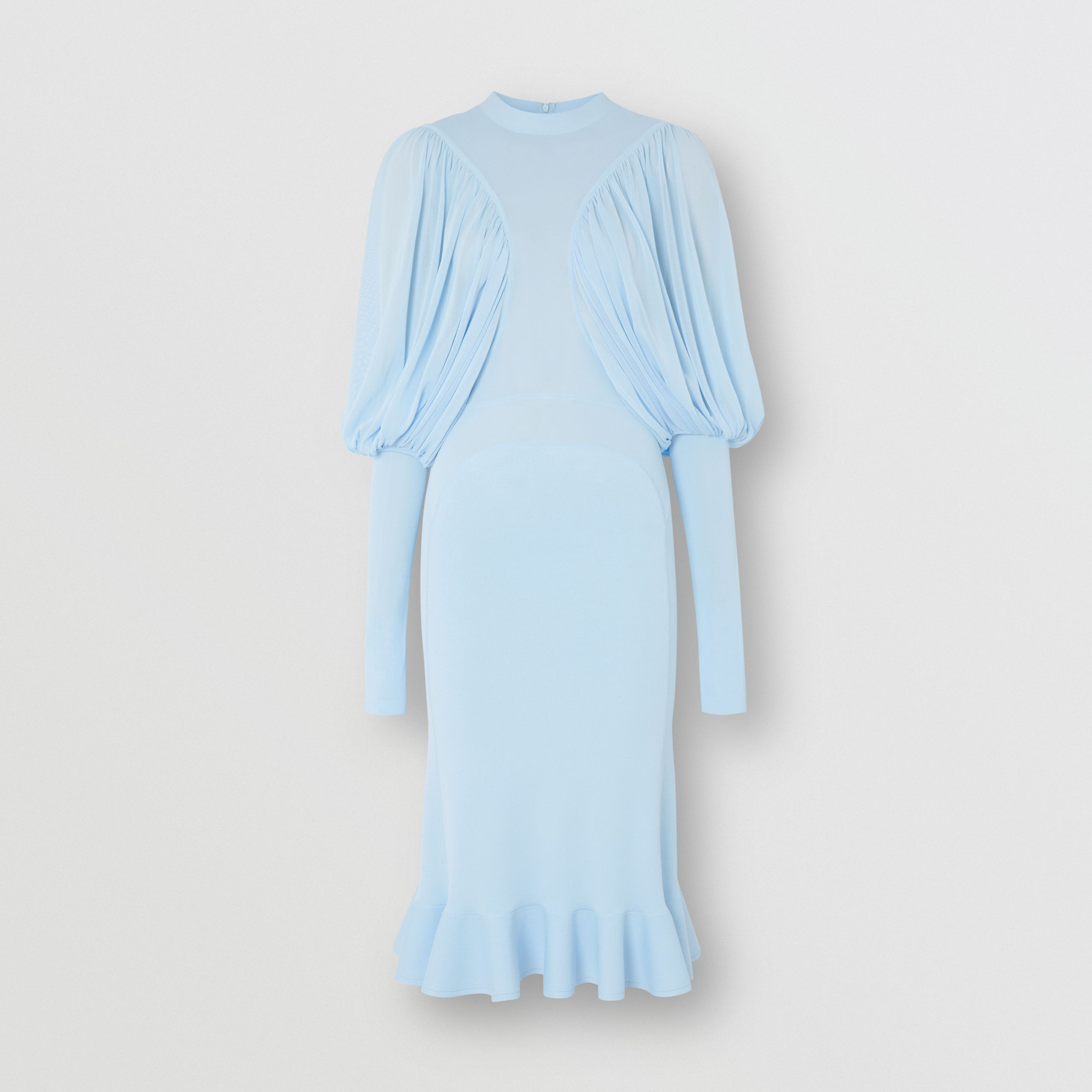 Puff-sleeve Jersey Dress in Pale Blue - Women | Burberry Canada - 4
