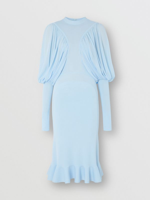 Puff-sleeve Jersey Dress in Pale Blue - Women | Burberry United Kingdom - cell image 3