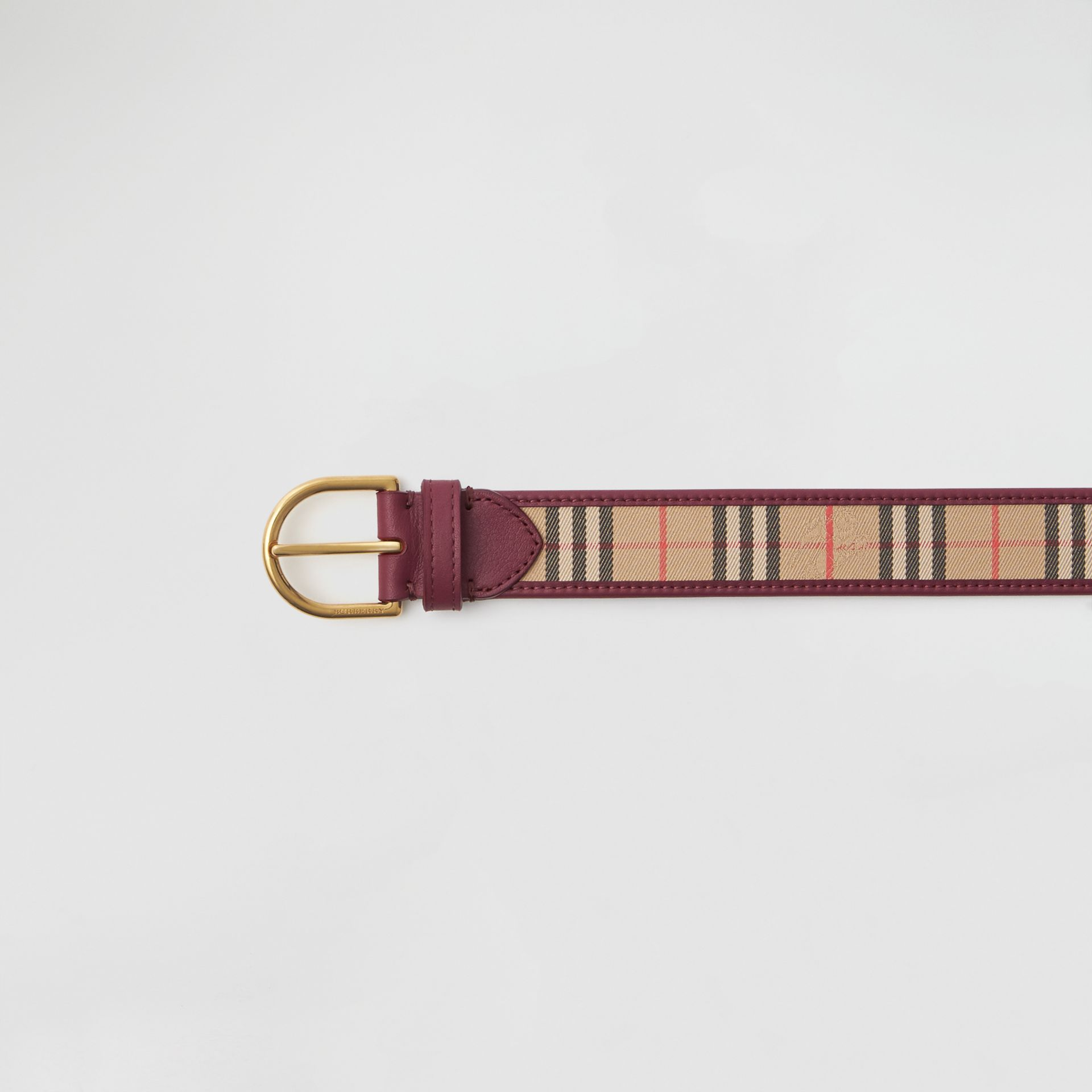 D-ring Buckle 1983 Check and Leather Belt in Antique Red - Men | Burberry Australia - gallery image 1