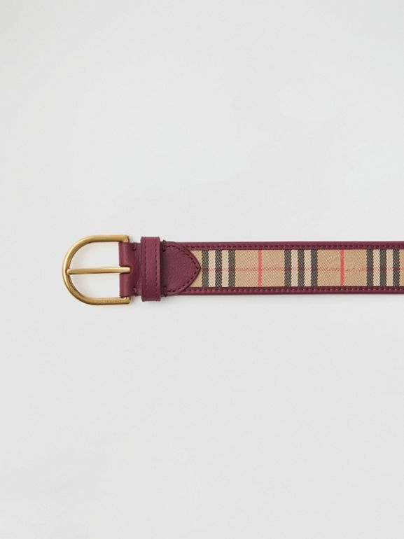 D-ring Buckle 1983 Check and Leather Belt in Antique Red - Men | Burberry - cell image 1
