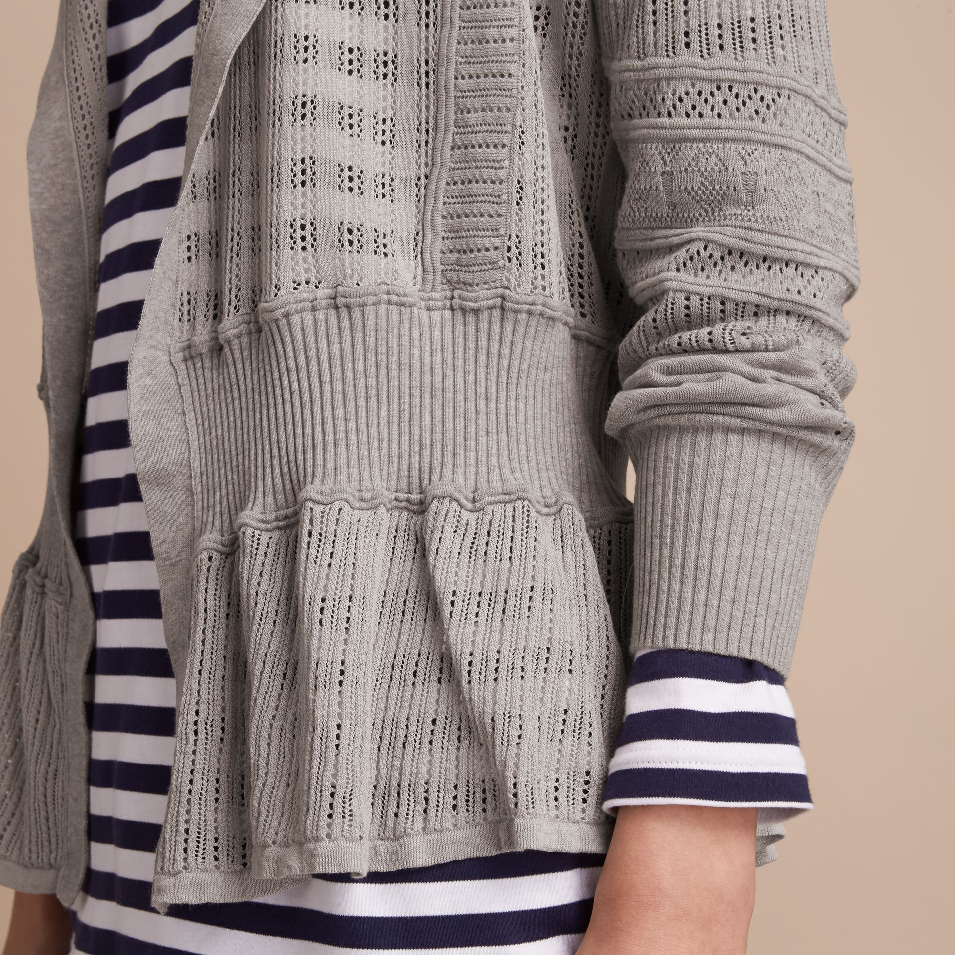 Multi-stitch Linen Silk Open Cardigan - Women | Burberry Australia - gallery image 5