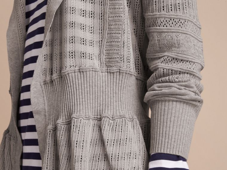 Multi-stitch Linen Silk Open Cardigan - Women | Burberry - cell image 4