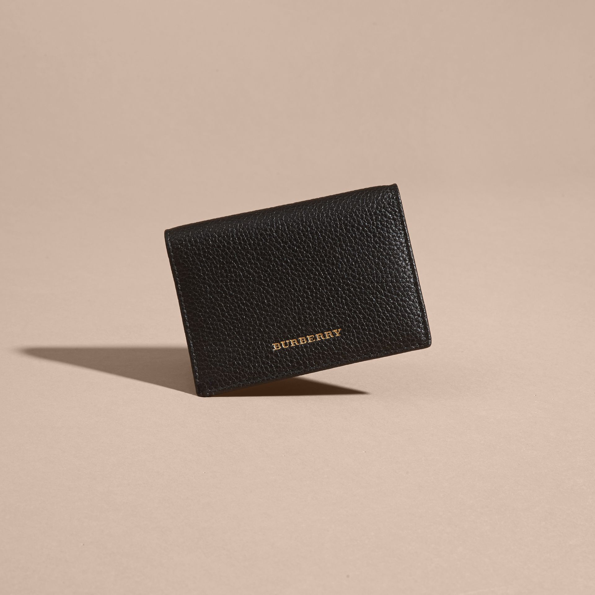 Black Grainy Leather Card Holder - gallery image 3