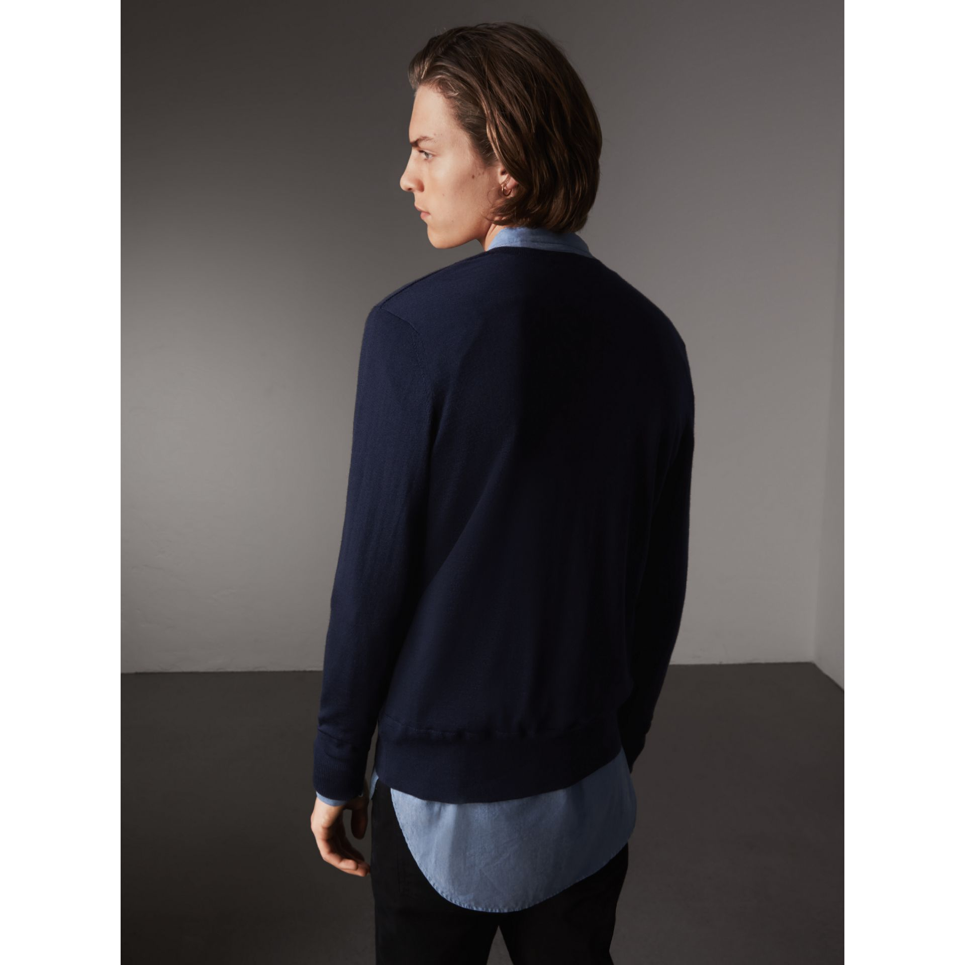 Merino Wool V-neck Sweater in Navy - Men | Burberry - gallery image 3