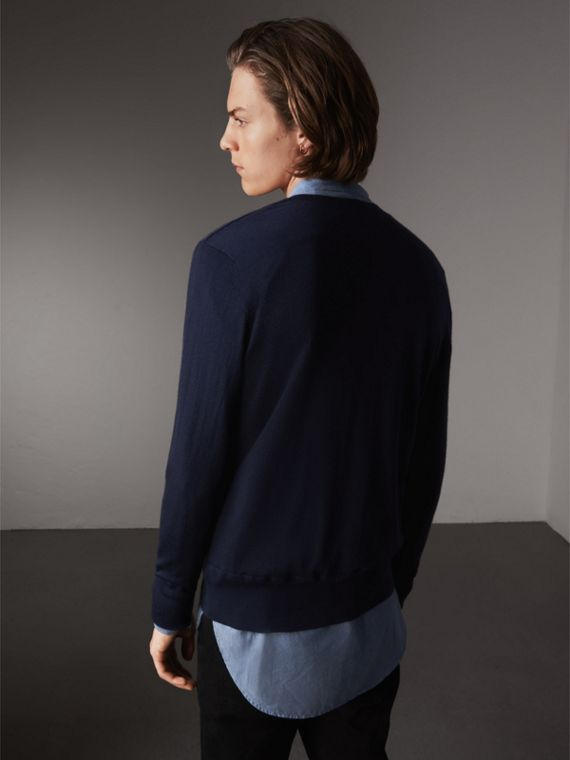 Merino Wool V-neck Sweater in Navy - Men | Burberry Singapore - cell image 2
