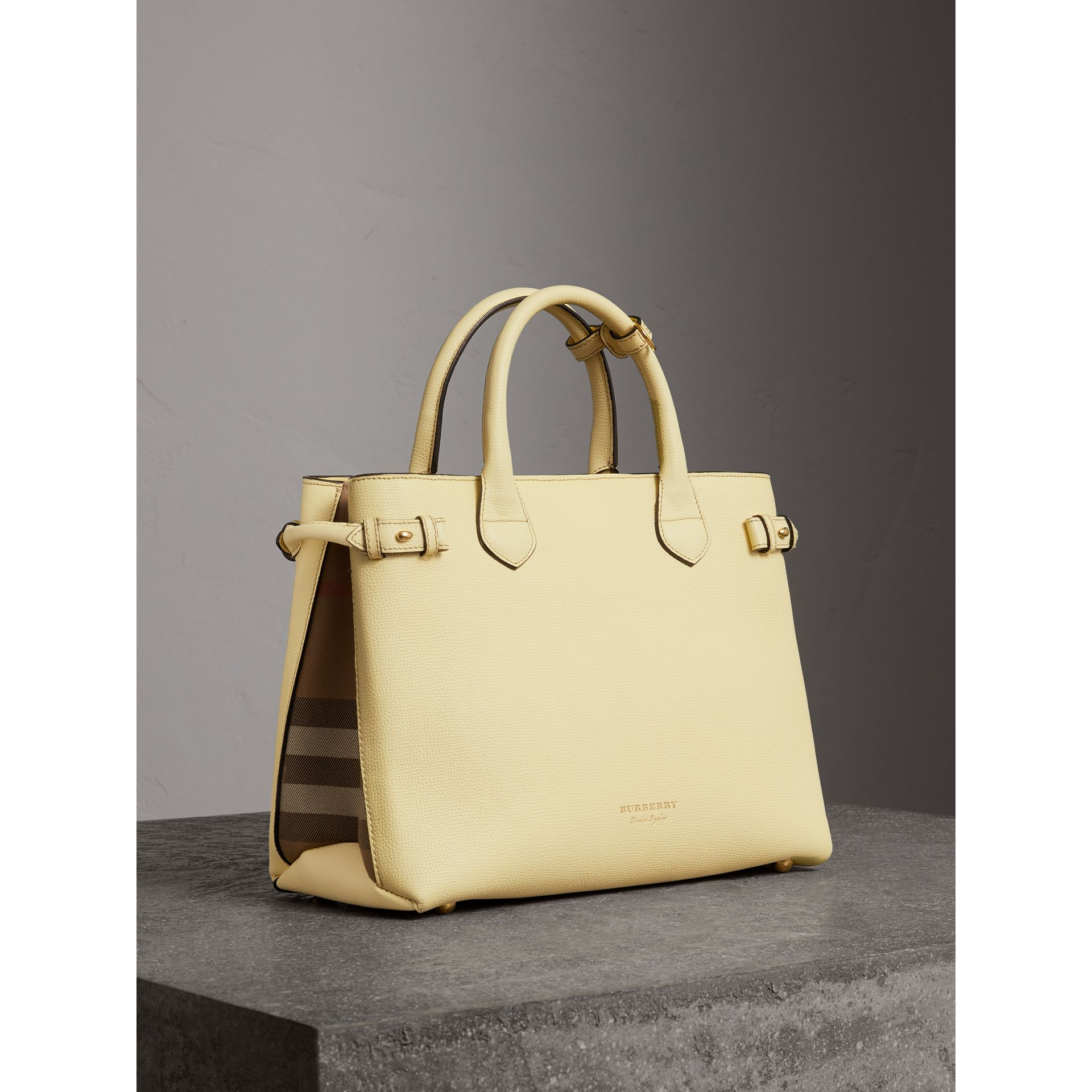 The Medium Banner in Leather and House Check in Camomile Yellow - Women | Burberry - gallery image 0