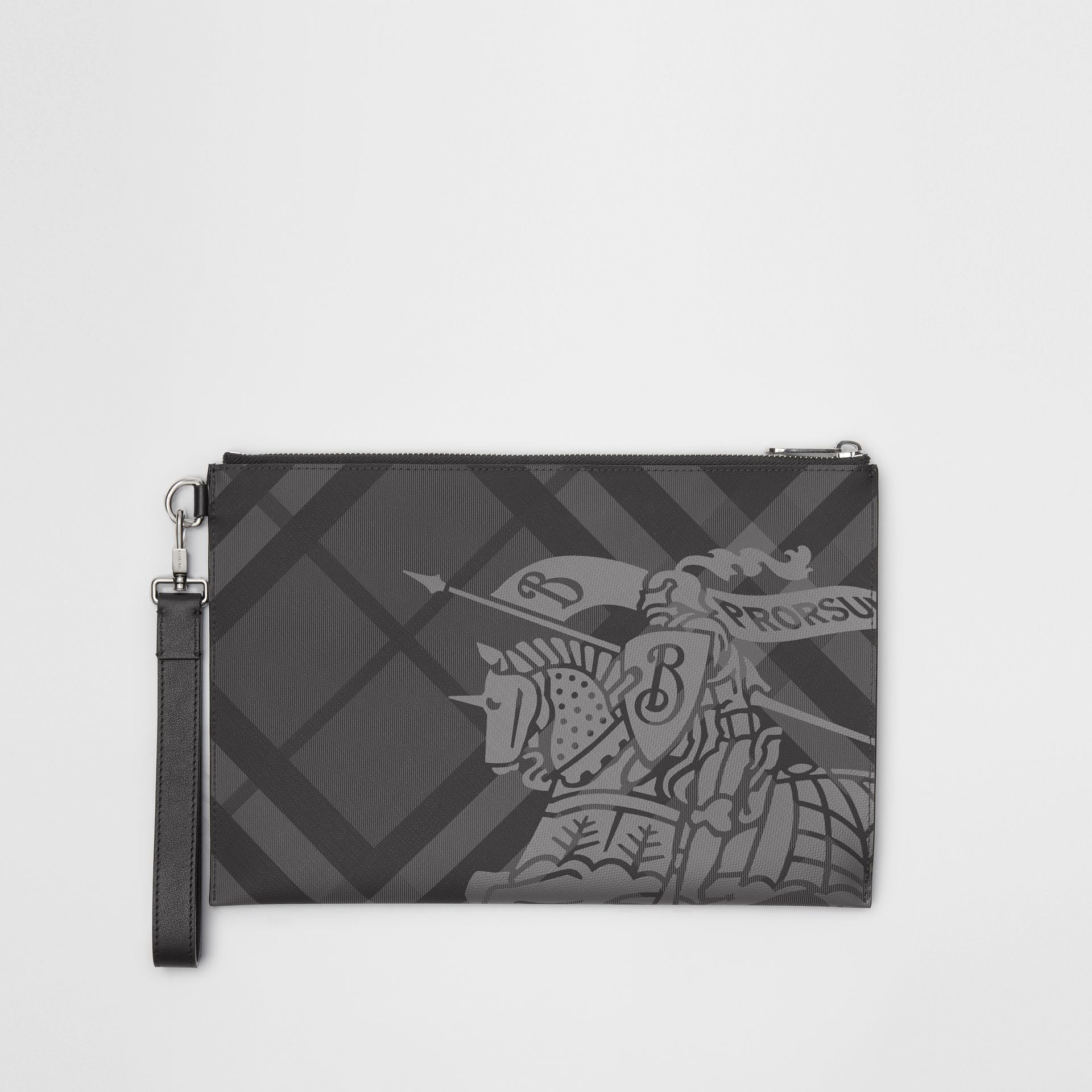EKD London Check Zip Pouch in Charcoal/black - Men | Burberry - gallery image 0
