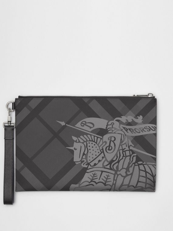 EKD London Check Zip Pouch in Charcoal/black