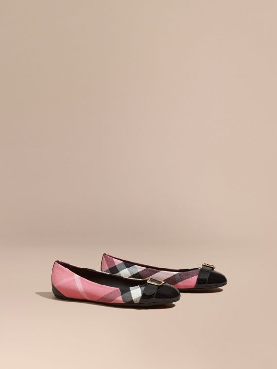 Buckle Detail House Check and Patent Leather Ballerinas in Rose Pink - Women | Burberry