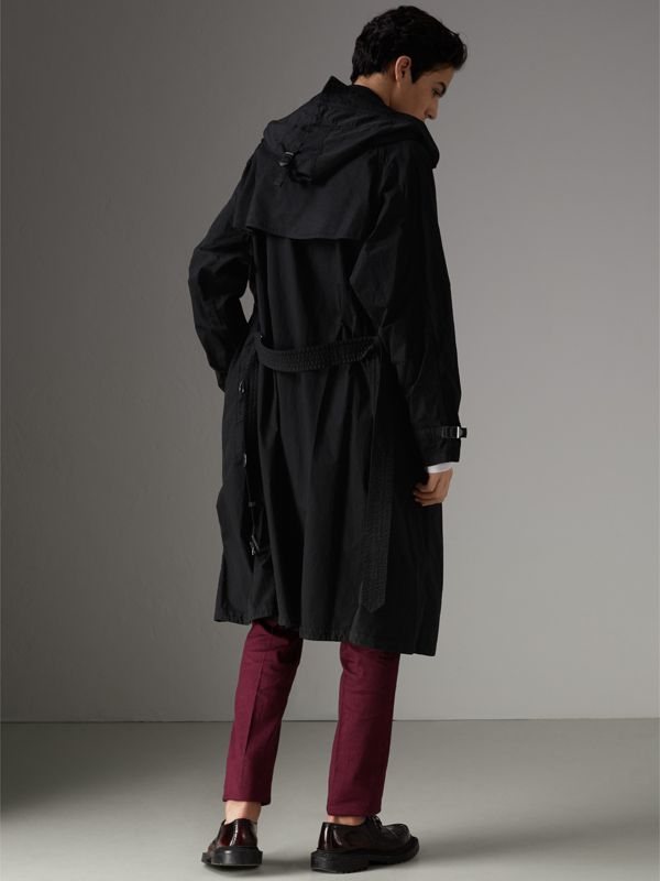 Detachable Hood Cotton Trench Coat in Black - Men | Burberry Australia - cell image 2