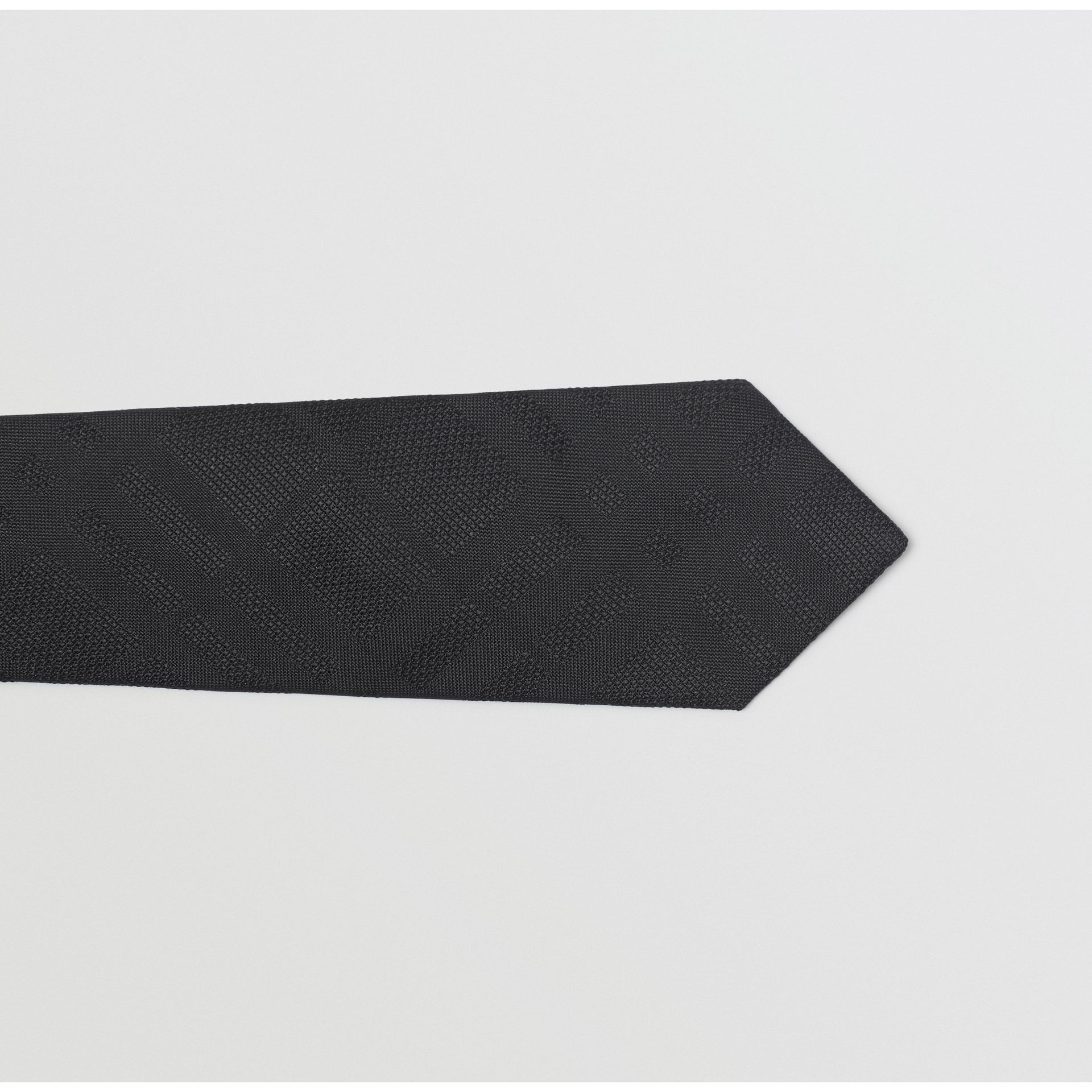 Modern Cut Check Silk Tie in Black - Men | Burberry Australia - gallery image 1