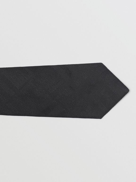 Modern Cut Check Silk Tie in Black - Men | Burberry Australia - cell image 1