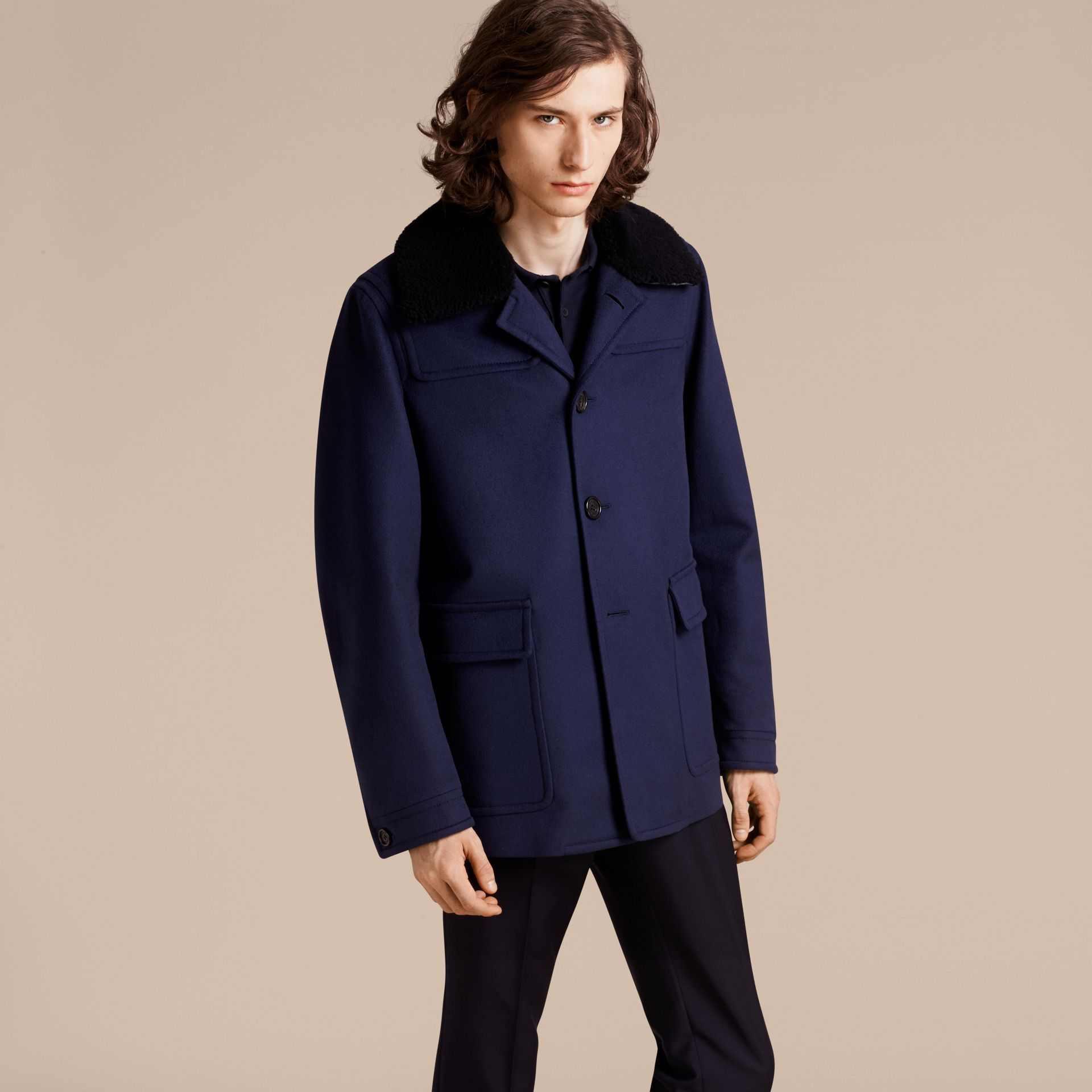 Blueberry Cashmere Donkey Jacket with Detachable Shearling Collar - gallery image 7