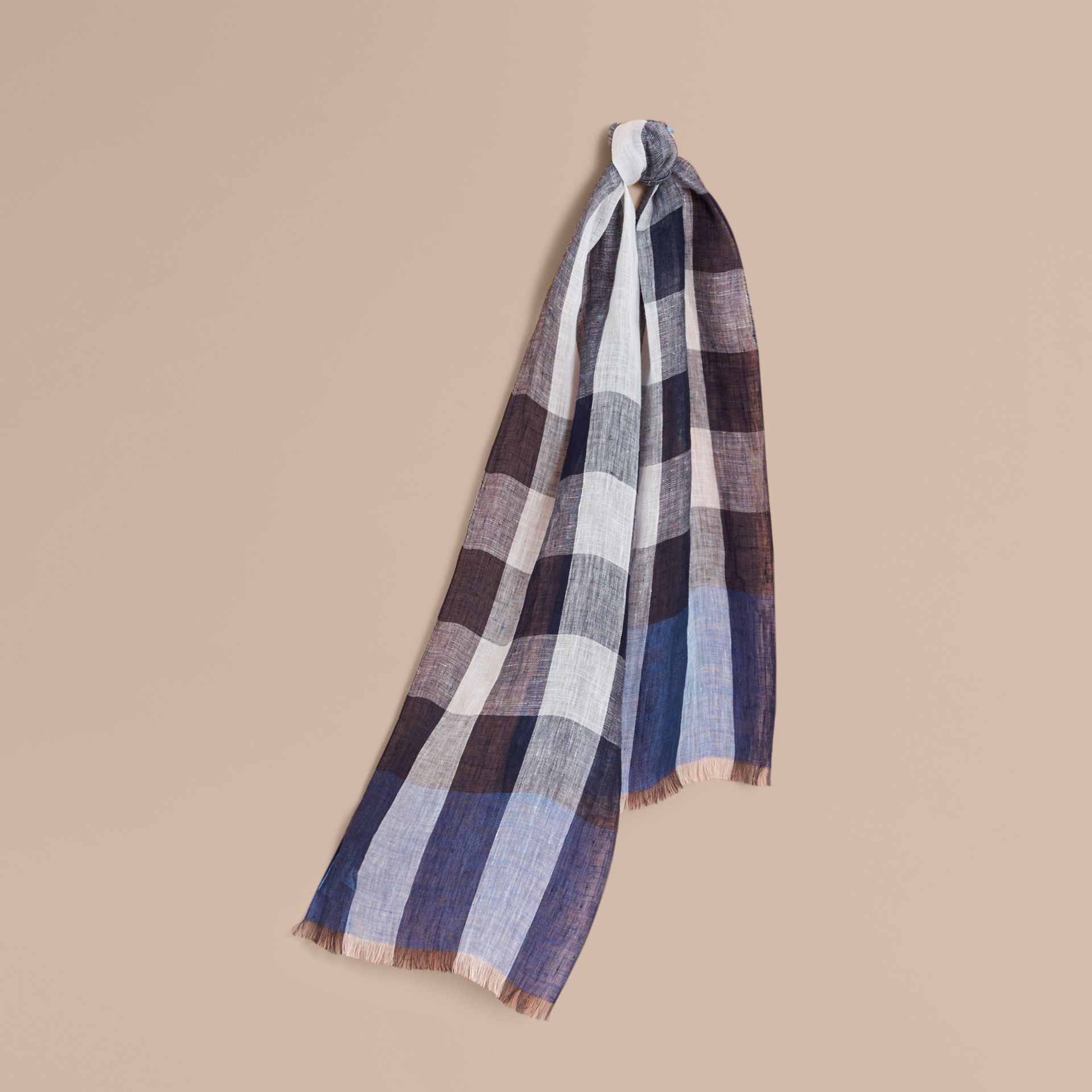 Lightweight Exploded Check Linen Scarf Chalk Blue - gallery image 1