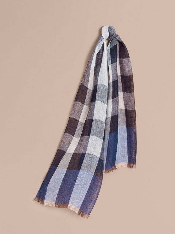 Lightweight Exploded Check Linen Scarf in Chalk Blue
