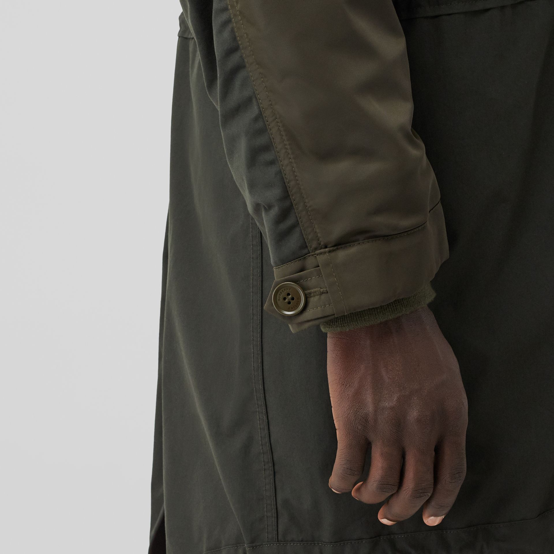 Nylon Hooded Parka with Detachable Warmer in Olive - Men | Burberry Singapore - gallery image 5