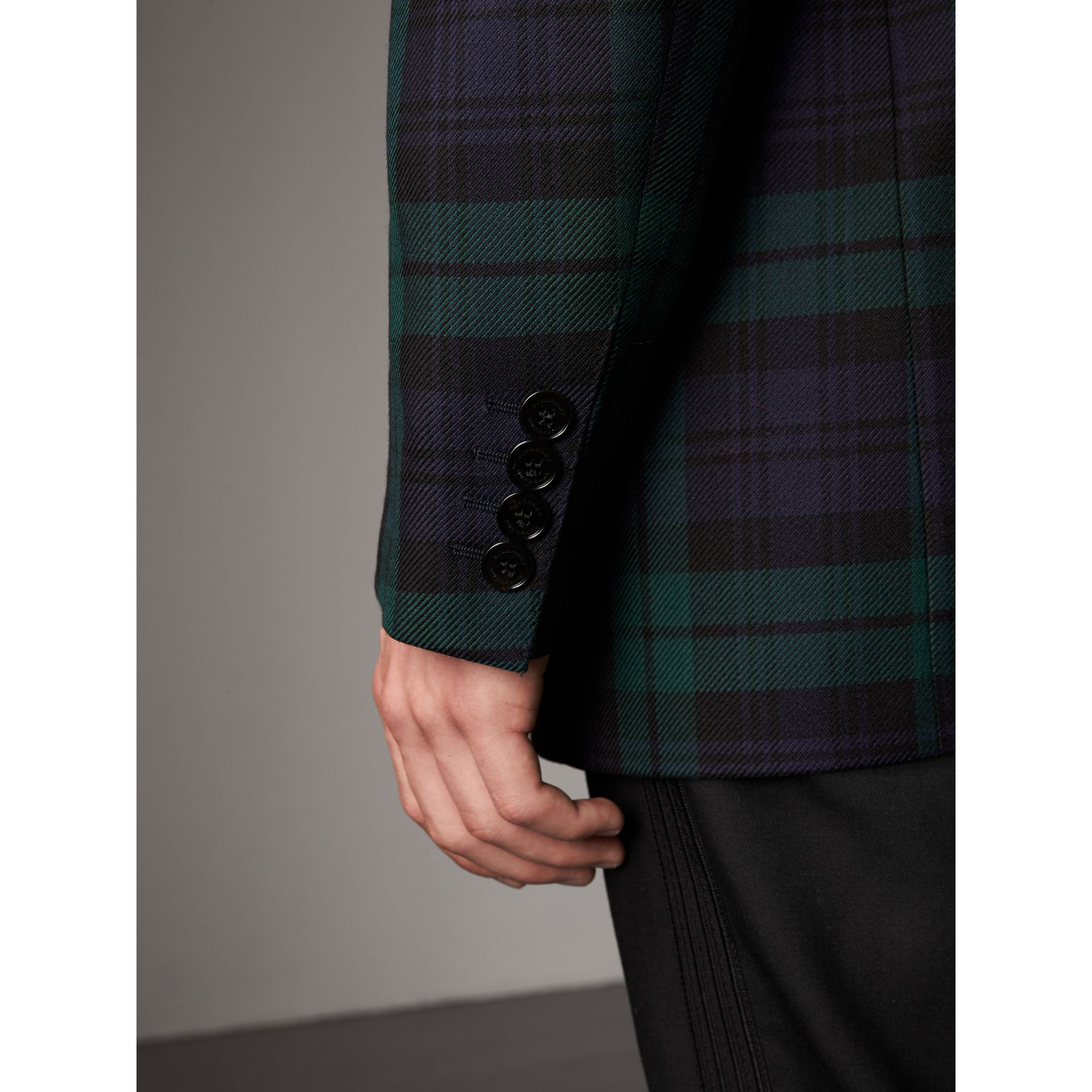 Tartan Wool Tailored Jacket in Bright Navy - Men | Burberry United Kingdom - gallery image 4
