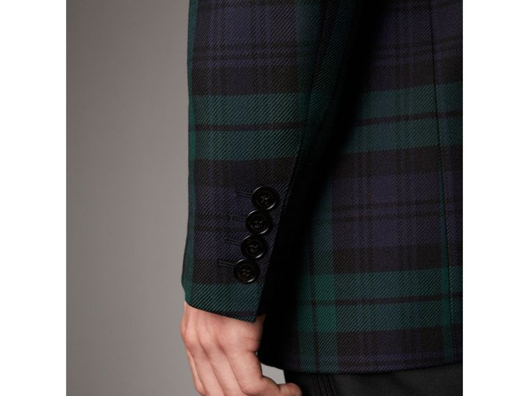 Tartan Wool Tailored Jacket in Bright Navy - Men | Burberry - cell image 4