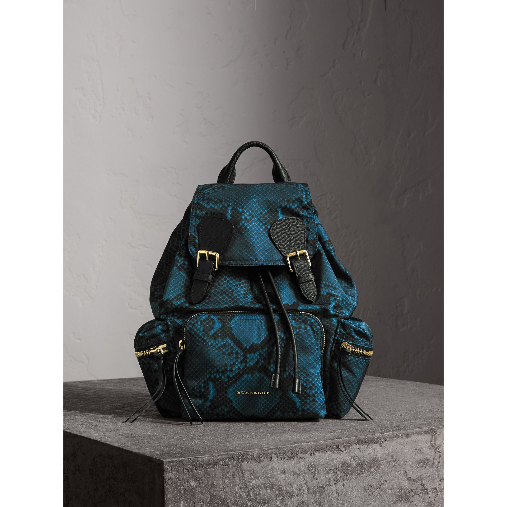 The Medium Rucksack in Python Print Nylon and Leather in Blue - gallery image 1