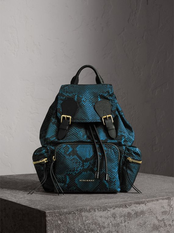 The Medium Rucksack in Python Print Nylon and Leather in Blue
