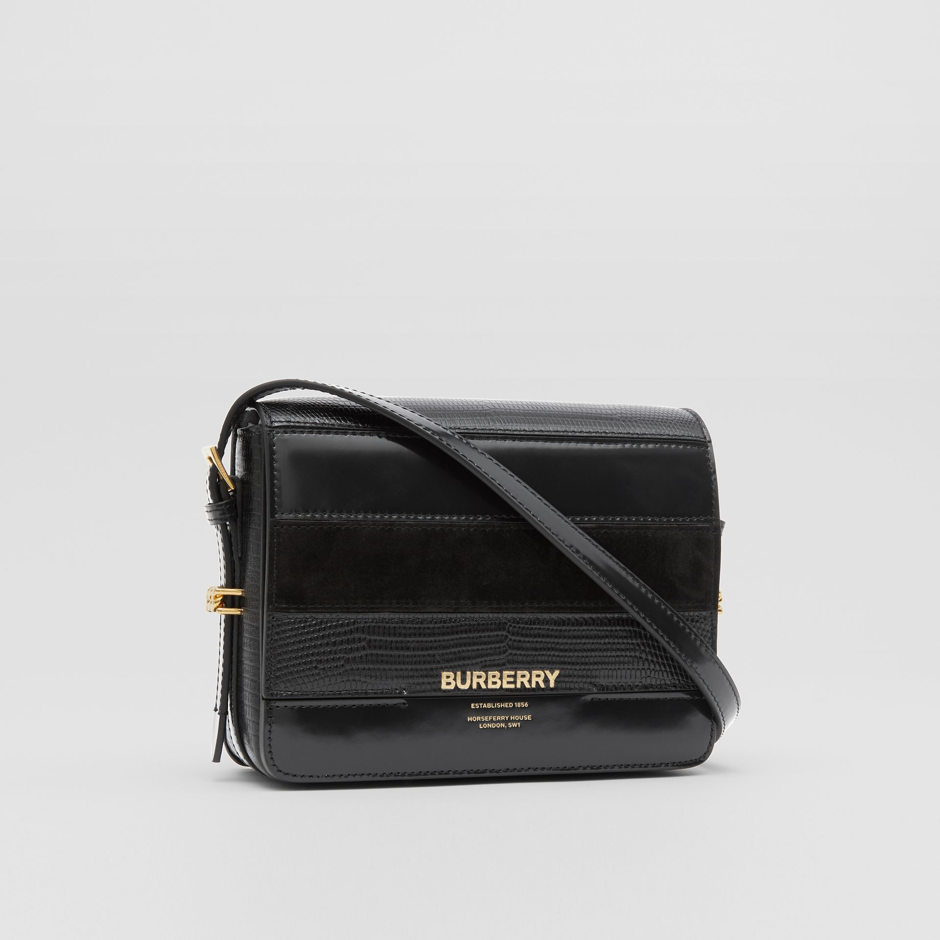 Small Panelled Deerskin and Suede Grace Bag in Black - Women | Burberry - gallery image 4