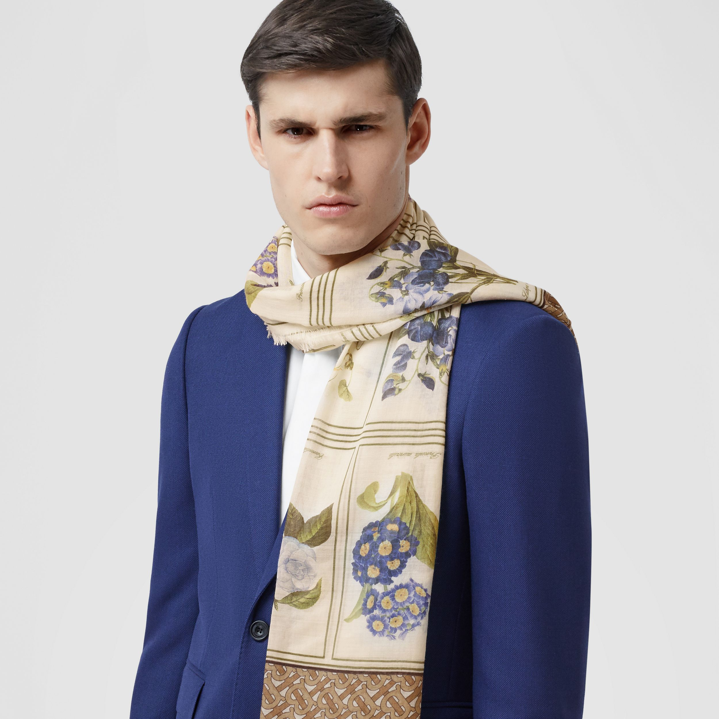 Botanical and Monogram Print Silk Wool Scarf in Archive Beige | Burberry - 4