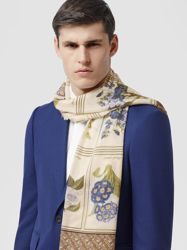 Botanical and Monogram Print Silk Wool Scarf in Archive Beige | Burberry - cell image 3