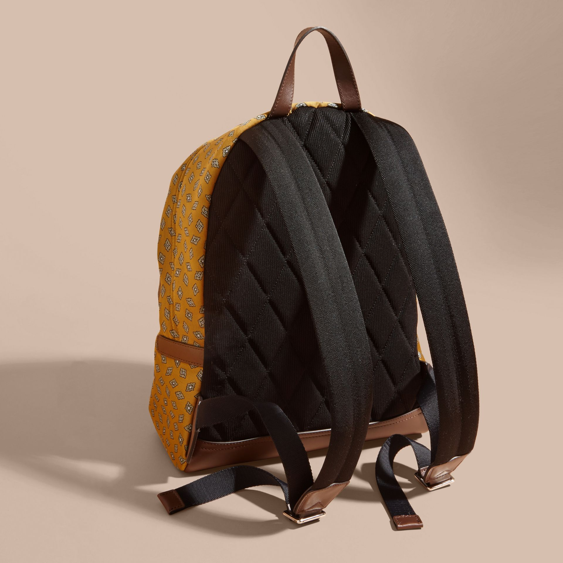 Citrus yellow Leather Trim Abstract Jacquard Backpack Citrus Yellow - gallery image 4