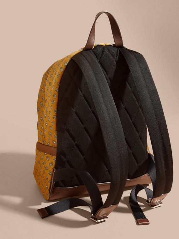 Citrus yellow Leather Trim Abstract Jacquard Backpack Citrus Yellow - cell image 3