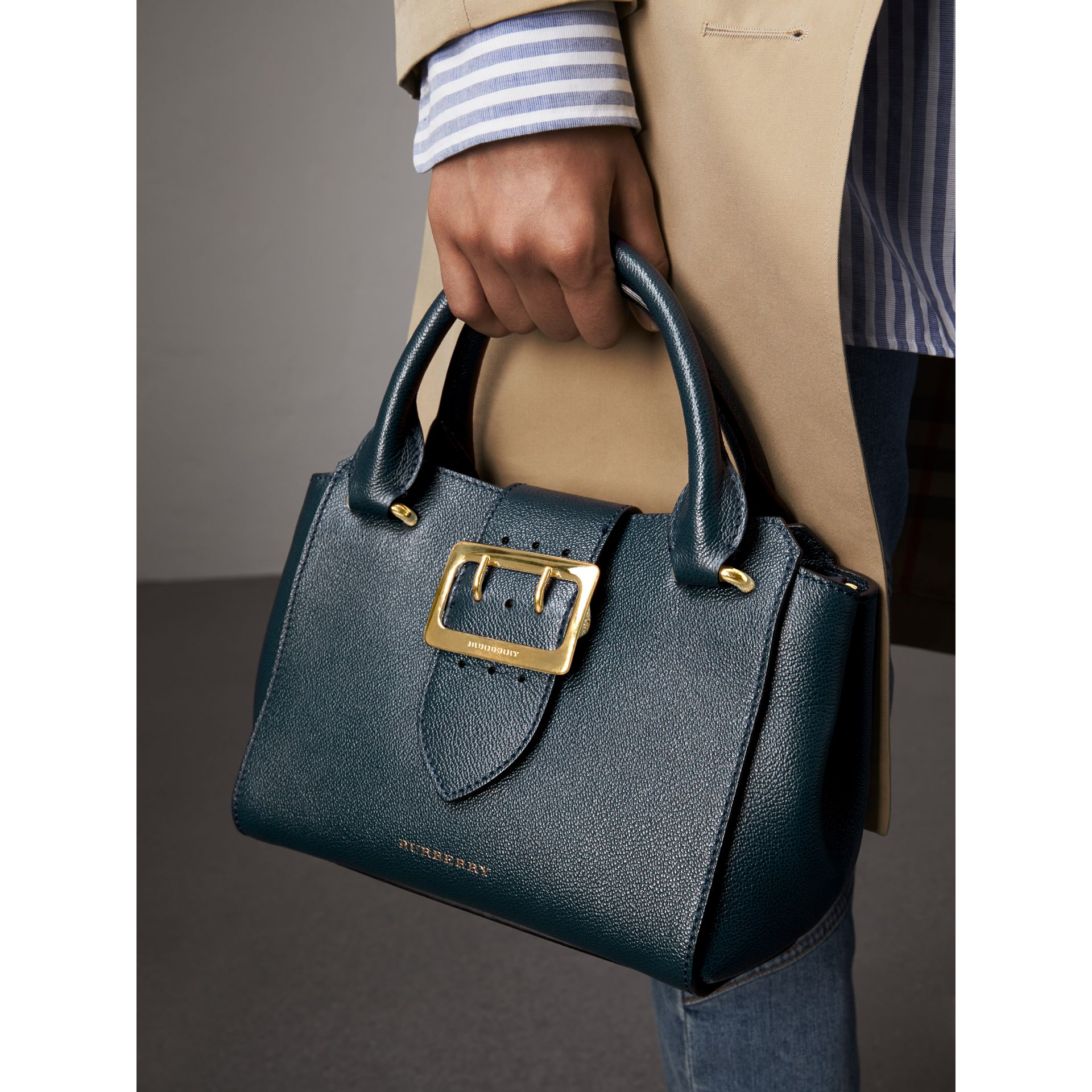 The Small Buckle Tote in Grainy Leather in Blue Carbon - Women | Burberry - gallery image 3