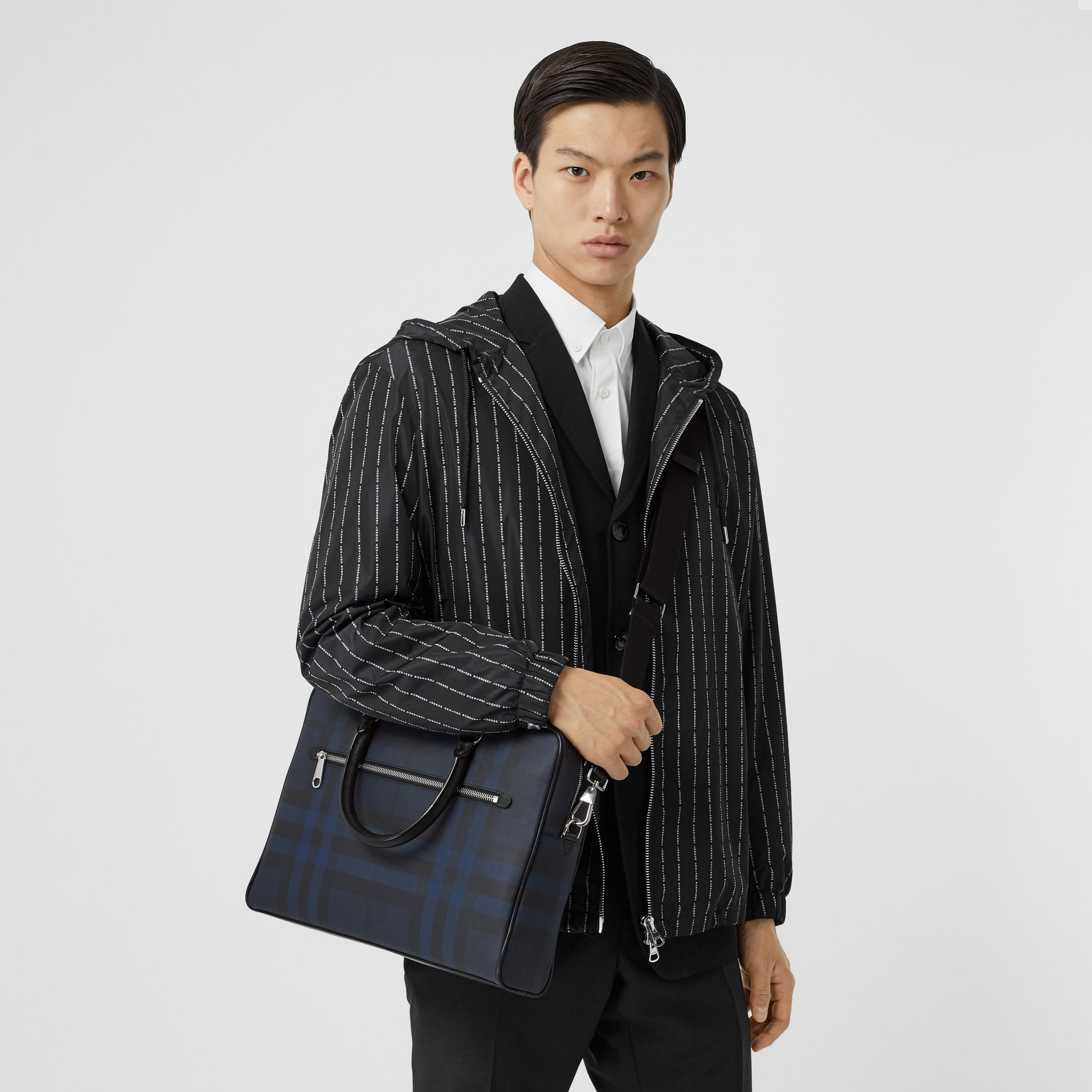 London Check and Leather Briefcase in Navy - Men | Burberry - 3