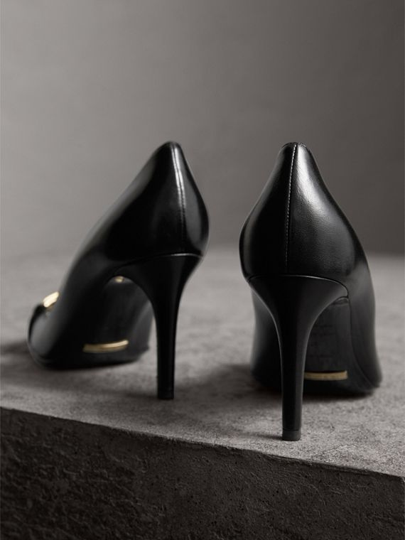 Horseferry Check Leather Pumps in Black - Women | Burberry - cell image 3